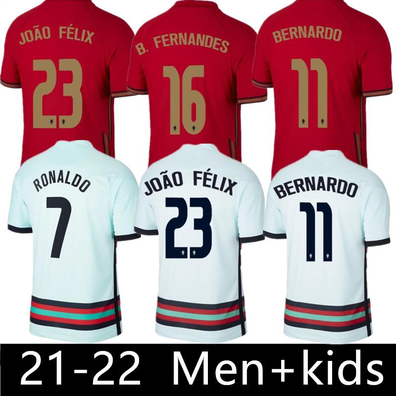 2021 Ronaldo Soccer Jersey 20 21 B.Fernandes Joao Felix Diogo J. Ruben Neves Bernardo 축구 셔츠 2022 국가 대표팀 청소년 남성 키트 유니폼