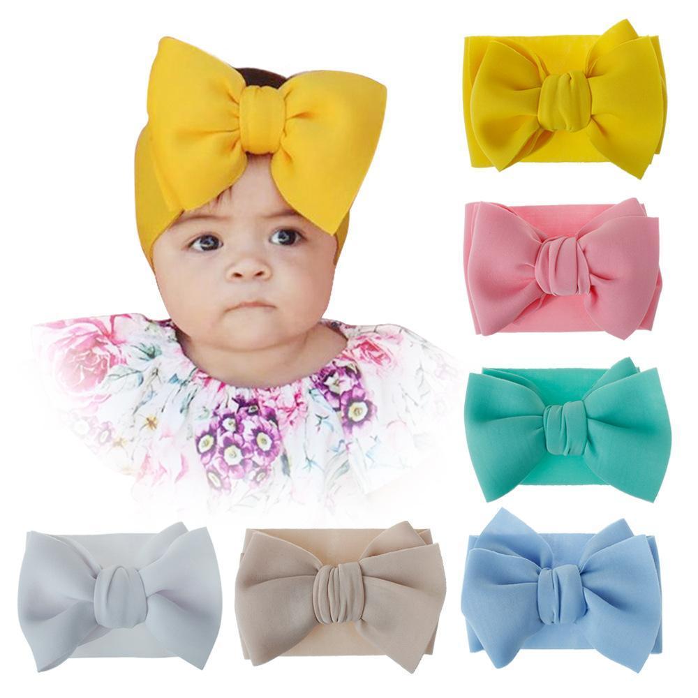 Nouveaux enfants Bande à cheveux à la main Bouton de grande taille Mode Beaux accessoires de cheveux enfants Couleur pure couleur mignon