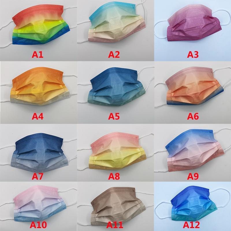 التدرج اللون أقنعة الوجه المتاح التمويه مصمم الأزياء قناع 3 طبقات غير المنسوجة الحماية