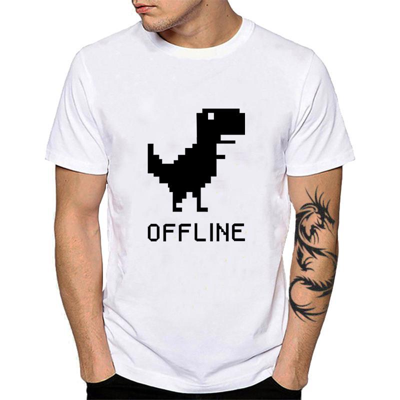 100% coton Unisexe Dino manches courtes T-shirt Homme été Summer Vous êtes hors ligne Funny Tee shirt créatif Google Geek Tee Top 404 YH113Socteur Jersey