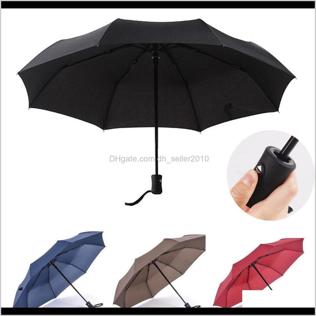 Umbrellas Household Sundries Home & Garden Drop Delivery 2021 Est Matic Umbrella Windproof Mens Black Compact Wide Open Close Lightweight 5Fu