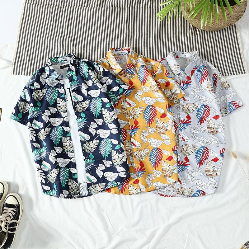 Männer Shirts Kurzarm Drucktasche Bunte Lässige Bluse Hawaiianisches Hemd Männliche Tops Sommer Geometrische Plus Größe Männer