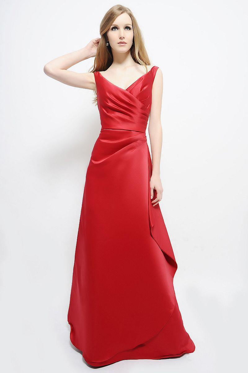 Bridesmaid Dress Charming A-Line V-Neck Long Red Satin Lace Up Prom Gown Sleeveless Vestido De Noche Backless F2100