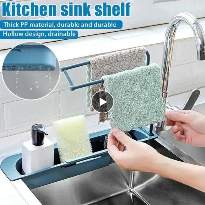 Teleskop-Waschbeckenregal Organizer Seife Schwammhalter Drain Rack Aufbewahrungskorb Küche Gadgets Zubehör