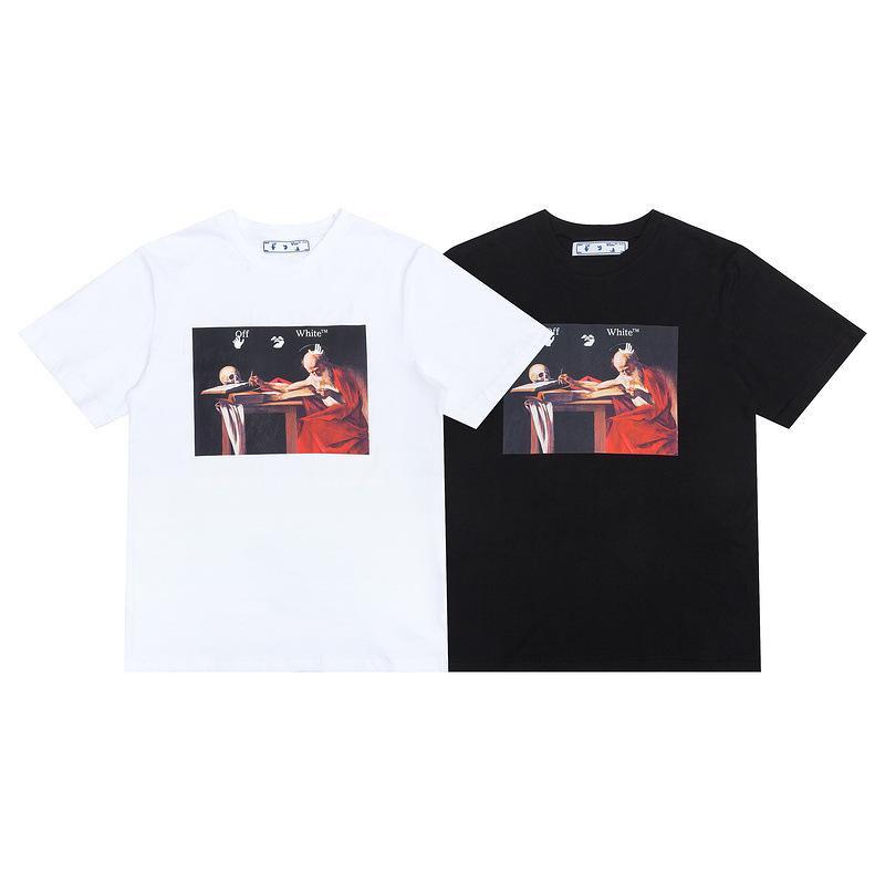 T-shirt Marée Marque du printemps Été Nouveau Style Série de peinture à l'huile religieuse hommes et femmes avec manches courtes8h3