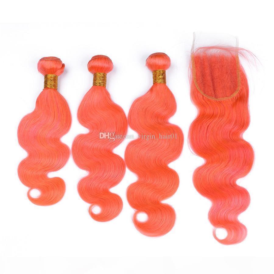 Bundles de cabelo humano laranja com fecho de renda Virgem virgem humana cabelo humano 3 ofertas corporal onda laranja lace fechamento branqueado nós parte