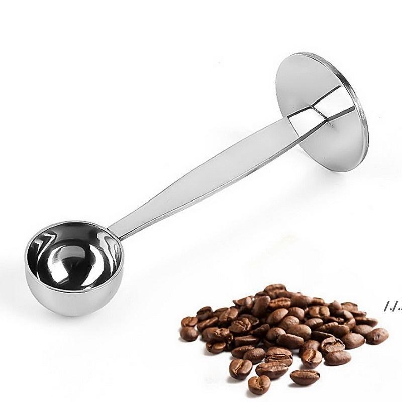 2 in1 حامل القهوة قياس ملعقة إسبرسو ختم الفولاذ المقاوم للصدأ القهوة مغرفة قياس و تامينغ القهوة ملعقة DWA6326