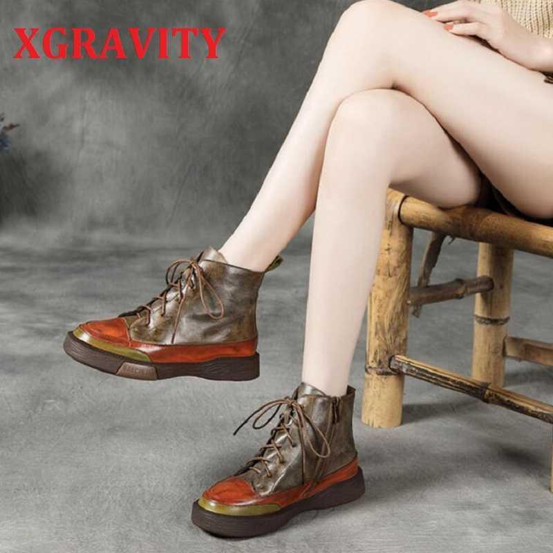 XGRAVITY S076 New Hot Autumn Winter Flat Shoes Elegant Cow Genuine Leather Mix Color Boots Ankle Boots Zip Lace Up Footwear S076 210429