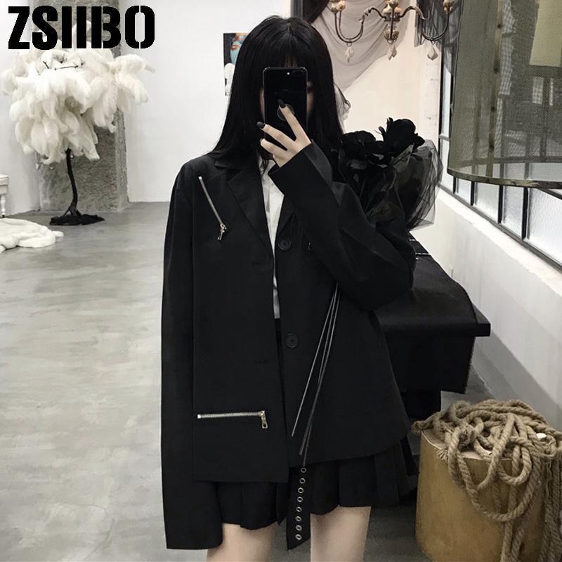Gothic Frauen Blazer Büro Dame Arbeitsart Kleinanzug Einzelner Button Mantel Feste Farbe Lange Jacke Weibliche 2021 Mode Kleidung Frauenanzüge