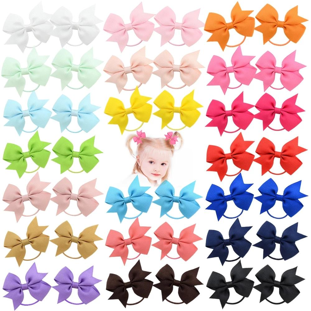Solid HairBand Grosgrain Ribbon Ponytail Holder For Baby Rubber Band Girl Hair Rope NewHandmade ScrunchieHairAccessory