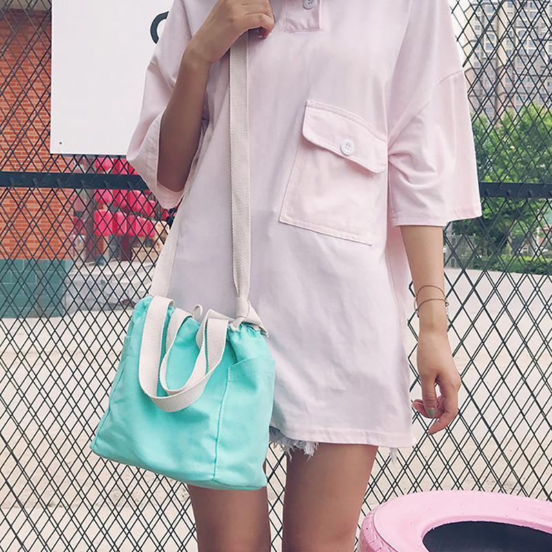 숙녀 양동이 숄더 가방 간단한 메신저 귀여운 나비 한국어 버전 솔리드 컬러 가방