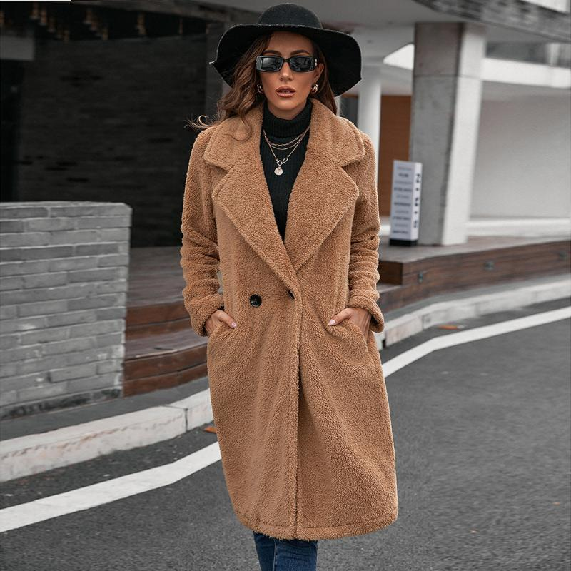 Women's Trench Coats Long Coat Fashion Korean Turn-down Collar Retro Windbreaker Thick Warm Woolen Oversize Flannel Autumn Winter Women Outw