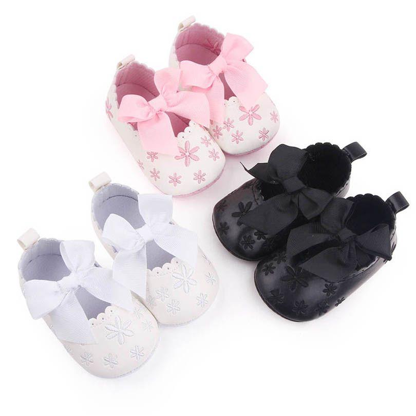 طفل أول مشوا أحذية الوليد طفل الرضع الفتيات الأحذية الجلود الانحناء الأخفاف الناعمة B6698