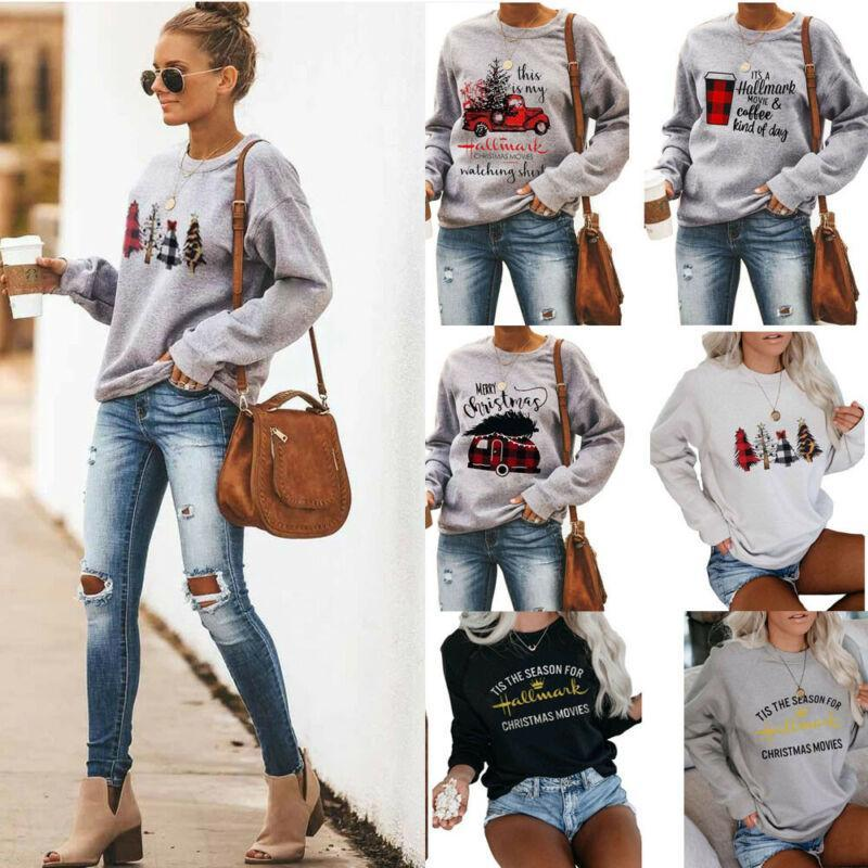 Women's Hoodies & Sweatshirts Christmas Women Long Sleeve Hoodie Autumn Winter Warm O Neck Pullover Tops