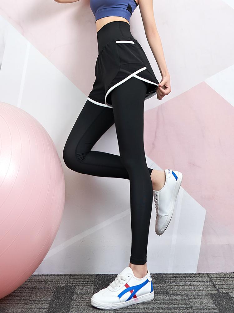 Designs Nude High-Taille Fitness Pantalons Femmes Stretch Source Sports Randonnée Pantalons De Séchage Quick-Séchage Net Célébrité Formation de Yoga Pantalons faux Deux