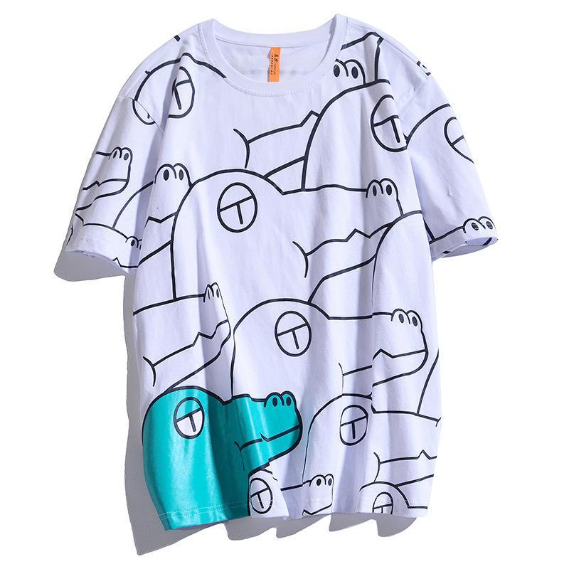 Tee 2021 Verão 100% grande algodão camisetas Anime Crocodile completa Impressão Harajuku Men's Hip Hop Camisa Streetwear I4ou