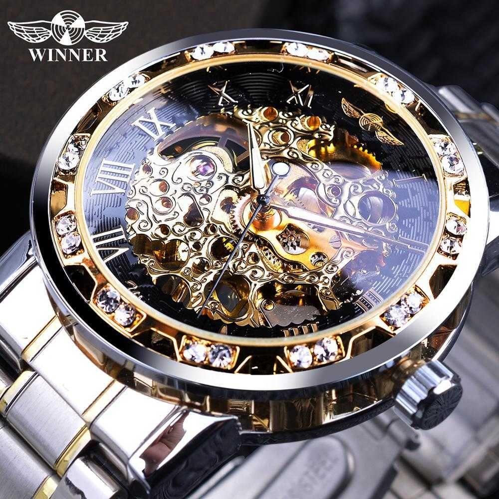 الفائز أزياء شفافة الماس مضيئة والعتاد حركة الملكي تصميم الرجال أعلى ماركة فاخرة الذكور الهيكل العظمي الميكانيكية المعصم ووتش 210630