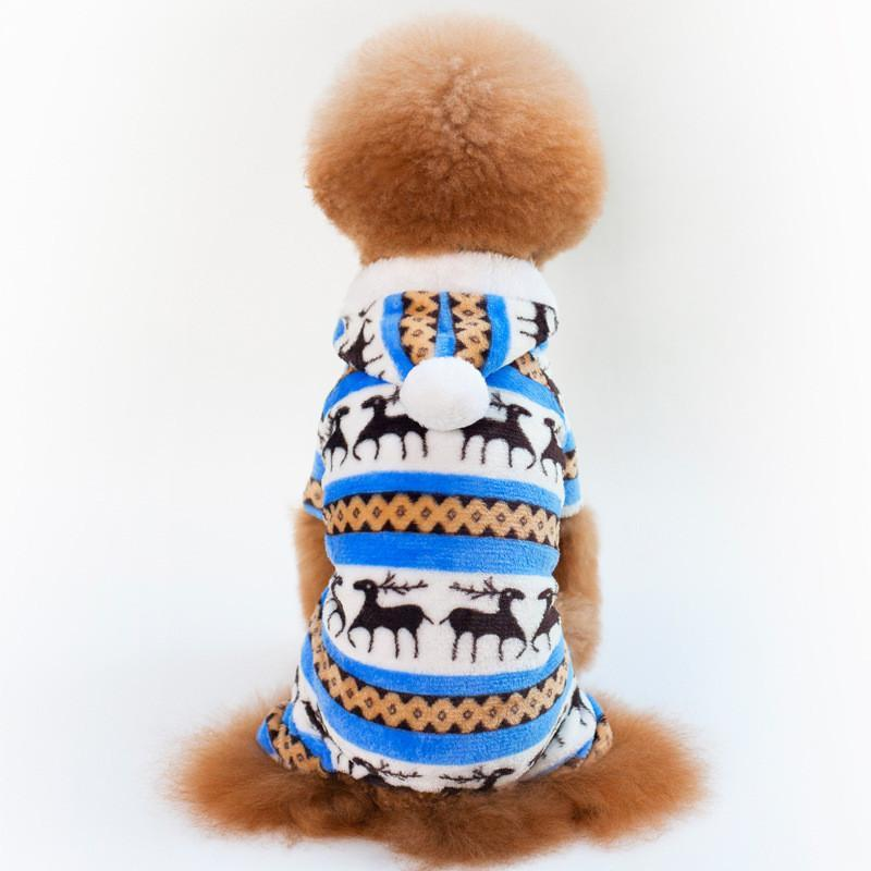 Dog Apparel Christmas Deer Jumpsuit Pajamas Winter Warm Fleece Small Coat Jacket Yorkshire Chihuahua Hoodie Clothes For Pitbull
