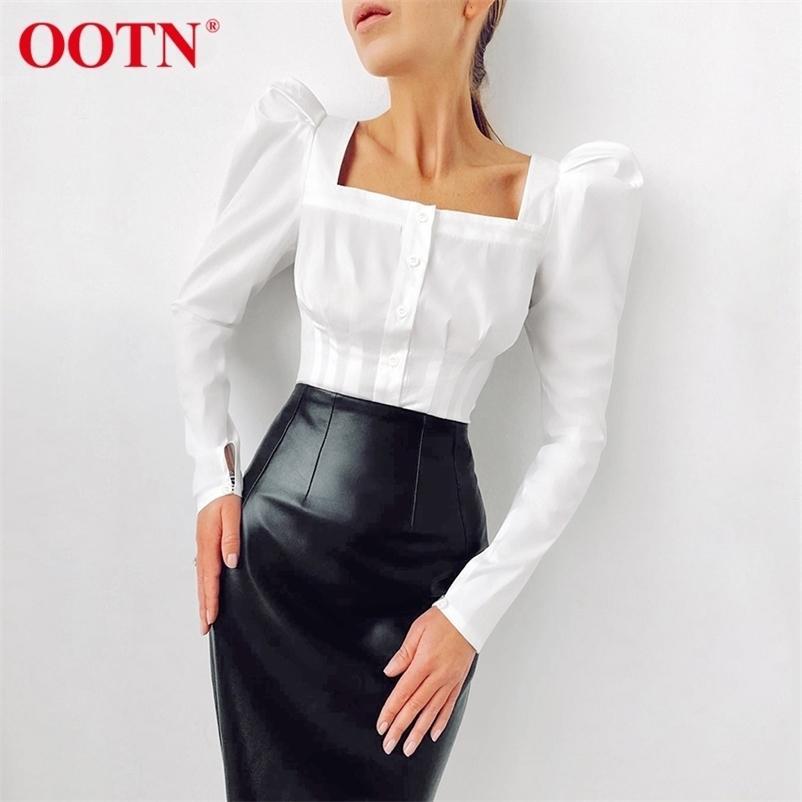Ootn Kare Boyun Beyaz Gömlek Kadın Pileli Tunik Kadın Bluz Zarif Puf Kollu Üst Siyah Ofis Bayanlar Bluz Pamuk Mavi 210323