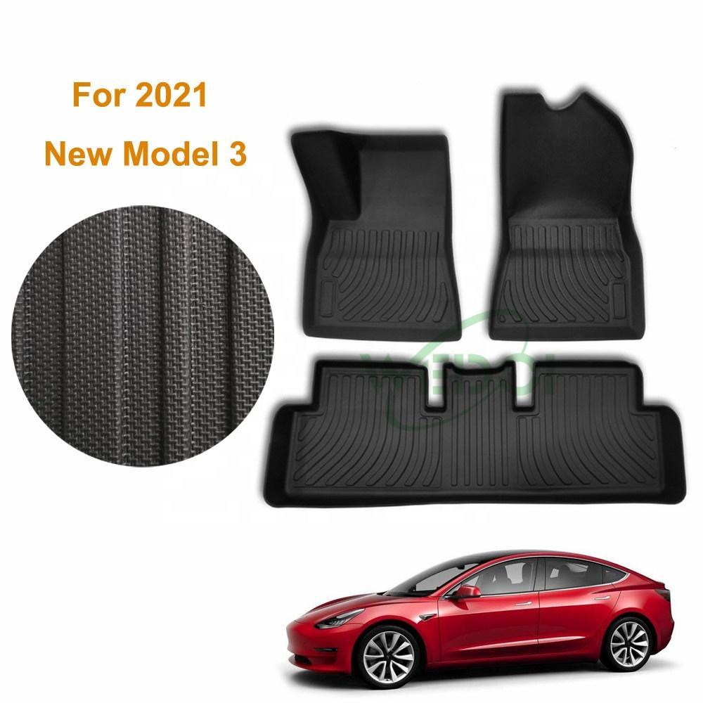 Tesla Model 3 2021 Oto Araba Paspaslar 3D Tüm Hava TPO Kauçuk Ayak Halıları Kokusuz Pad Su Geçirmez Tepsi Mat İç Aksesuarları Anti-silp / Çizilmeye Dayanıklı