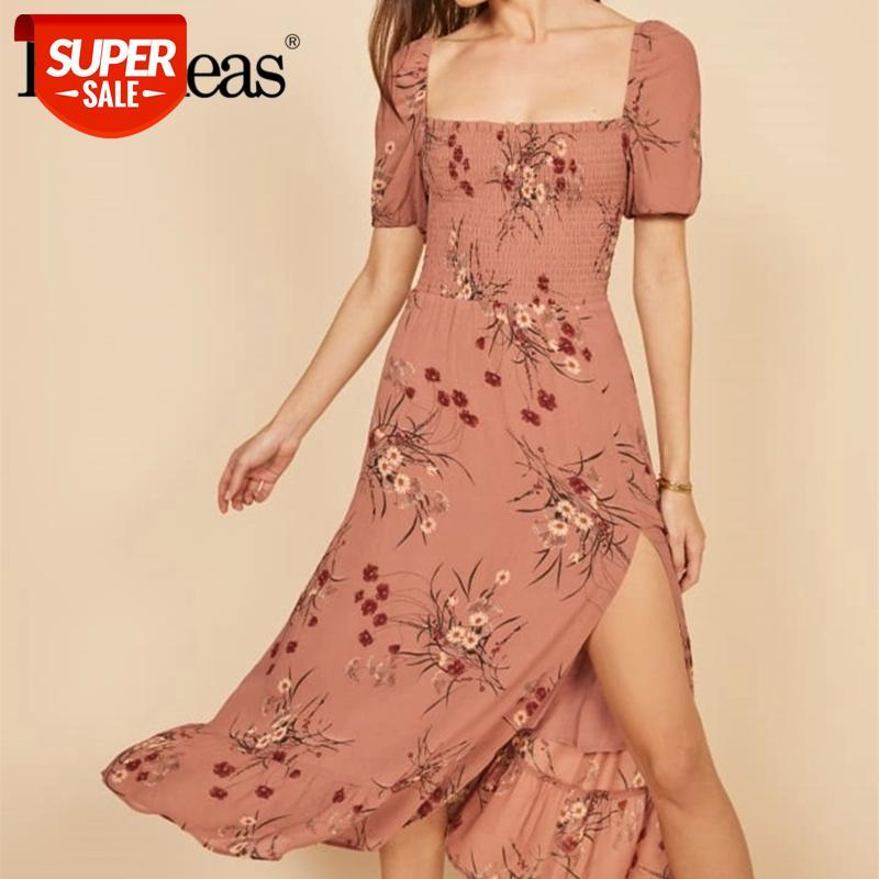 2021 летние ретро розовый цветочный принт сплит женщины MIDI платье старинные с короткими рукавом платья сексуальные квадратные воротники Vestidos # 7V3i