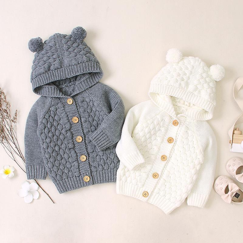Pullover Feder Herbst Säuglings Baby Jungen Mädchen Acryl Langarm Pullover Süße Feste Farbe Plüsch Ball Design Button Bequeme Oberbekleidung