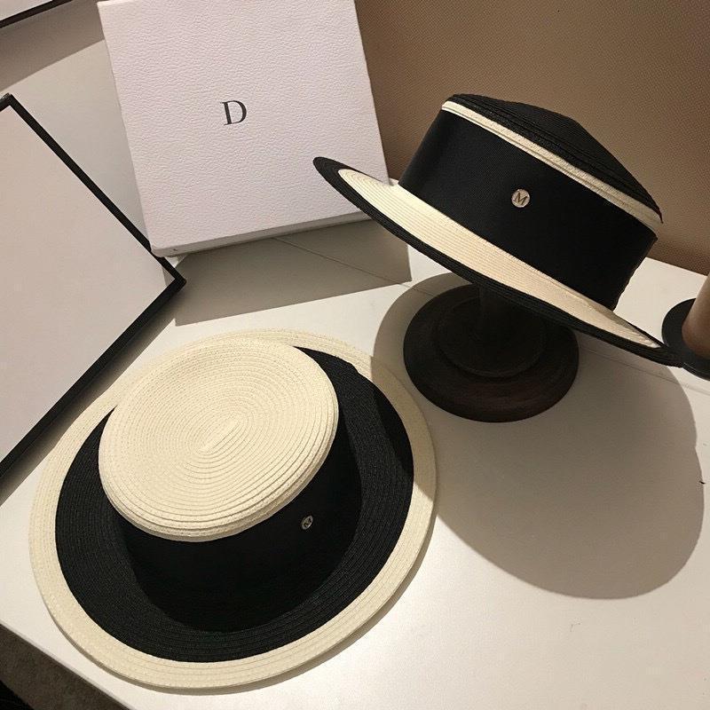 الشريط إلكتروني بريم الروايات قبعة المرأة أسود أبيض مشترك القش قبعة ديربي شاطئ الشمس قبعة قبعة سيدة الصيف واسعة بريم uv حماية القبعات 210323