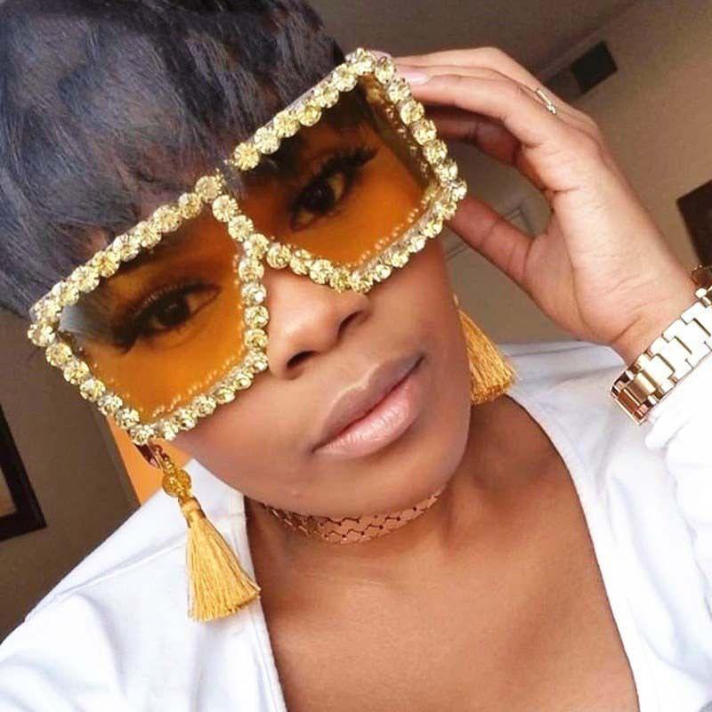 Updated 18 Colors Women Square Rhinestone Sunglasses Oversize Colorful Diamond Frame Luxury Shades Big Sun Glasses Wholesale