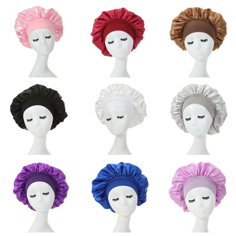 Katı Renk Saten Geniş Bant Elastik Gece Şapka Kadın Şapkalar Uyku Kapaklar Bonnet Saç Bakımı Moda Aksesuarları