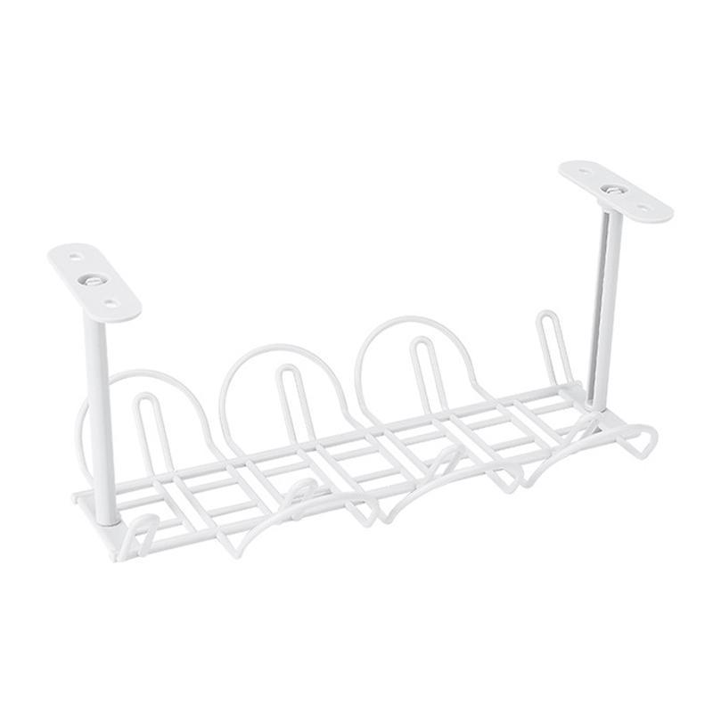 Organisation de stockage de salle de bains 1PC Prise de rack Bouchon Fil Organisateur Titulaire Table de table inférieure Câble d'alimentation Tablette ADHESIVE PANNE DE PANIER