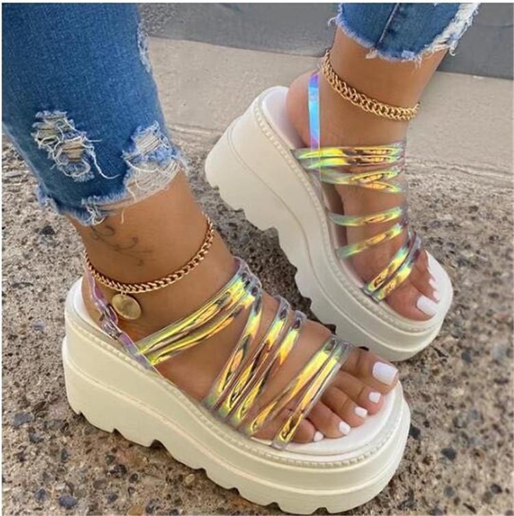 Femmes Sandales d'été Sandales Dos Sangle Boucle Plateforme Croîchements Milieu Heel Hauteur Hauteur Plage Dames Zapatos de Mujer Sandalia