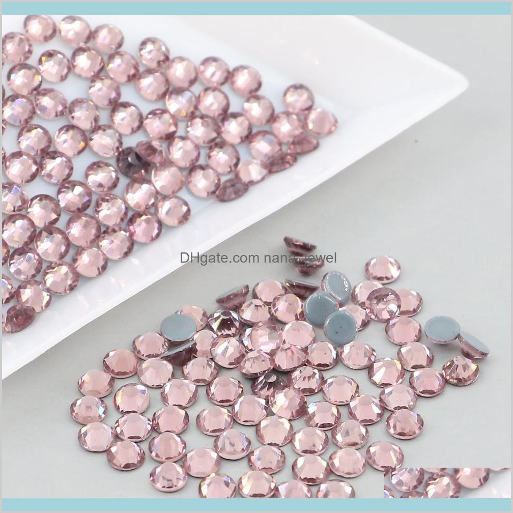 Wholesale Lot 1440 Ss6-Ss20 Austrian Crystal Fix Glue Flatback Round Rhinestone Xilion Rose 2028# (Lt.Amethyst) Zelhd Kdonf