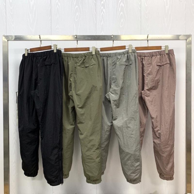 TopStone Men's Metal Neylon Светоотражающие бежевые брюки Хип-хоп Вышитая спортивная одежда для дыхания Пара Досуг Улица
