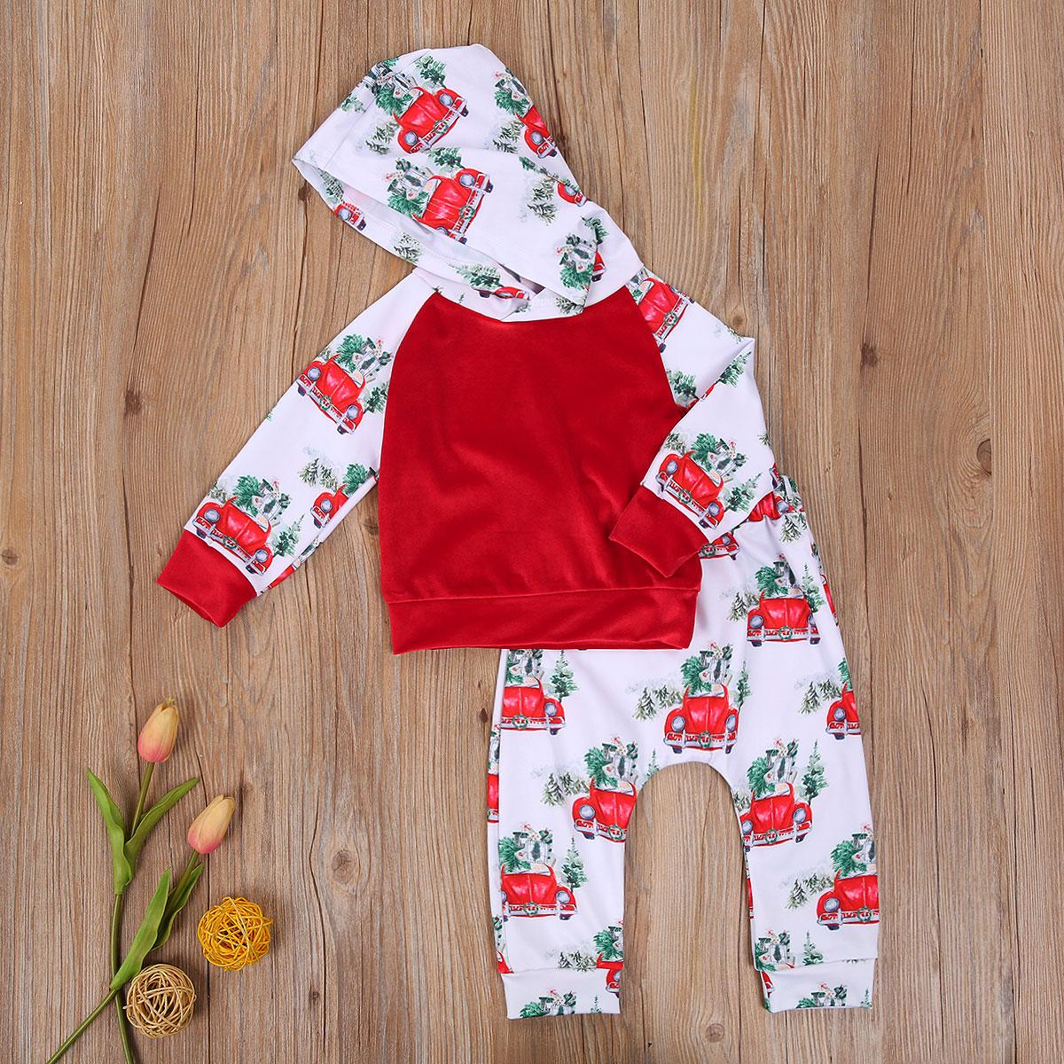 Christmas Baby Boy Suit Long Sleeve Hooded Sweater Mid Waist Long Pants with Car Patterns Spring Autumn Babys Clothes Set 0-3Y