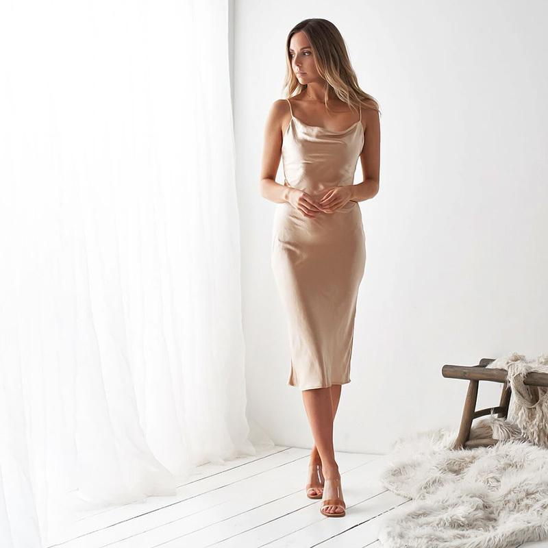 Women's Hoodies & Sweatshirts Vestido macio de cetim feminino, vestido longo verão com cintura alta, slim, retrô G542