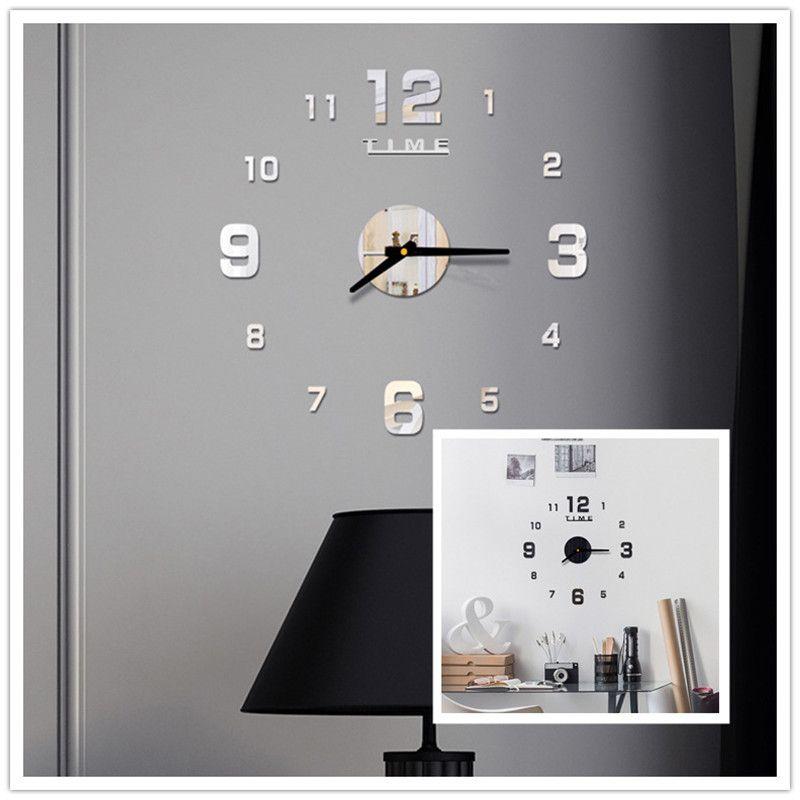 الاكريليك ساعة الحائط diy مرآة ساعة الحائط الفن أكريليك 3d مرآة ملصقا المنزل مكتب ديكور هدية فريدة من نوعها RRD7045