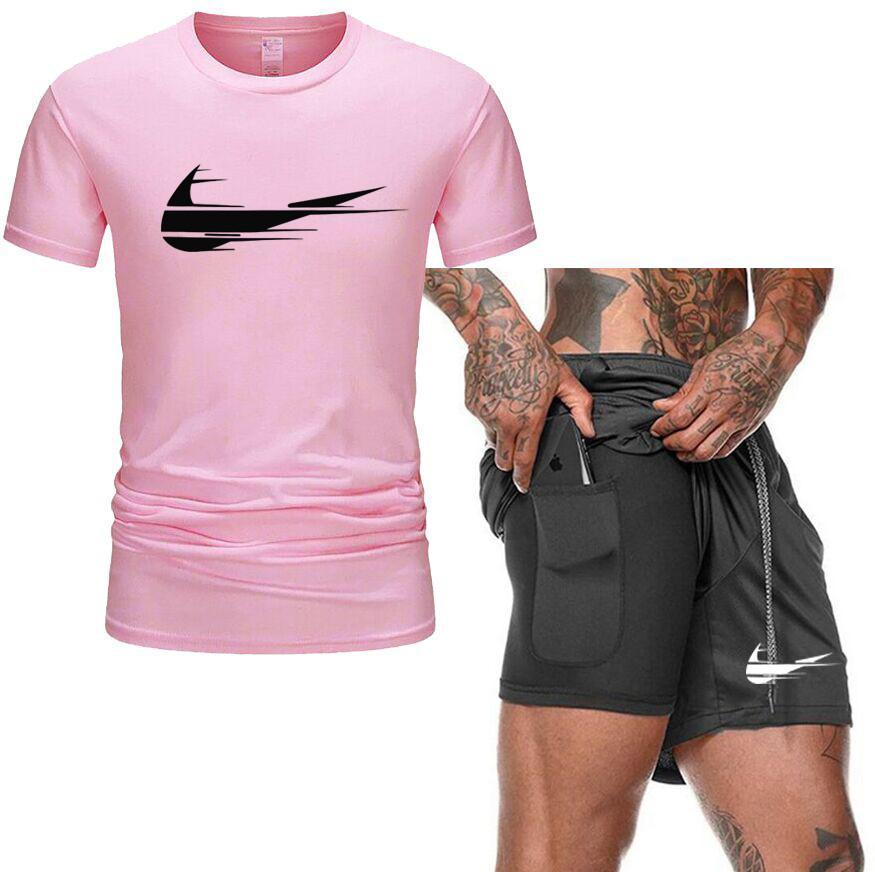 2021 Uomini Casual Tracksuit Set Fashion 2 Pz Suit Suit Suit Manica Corta T-shirt T-shirt Set Set Sportswear maschio Summer Plus Size S-XXL
