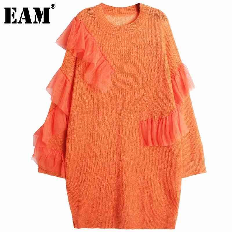 [EAM] Frauen Orange Rüschen Stricken Große Größe Kleid Rundhals Langarm Lose Fit Mode Frühling Herbst 1DD5981 210512