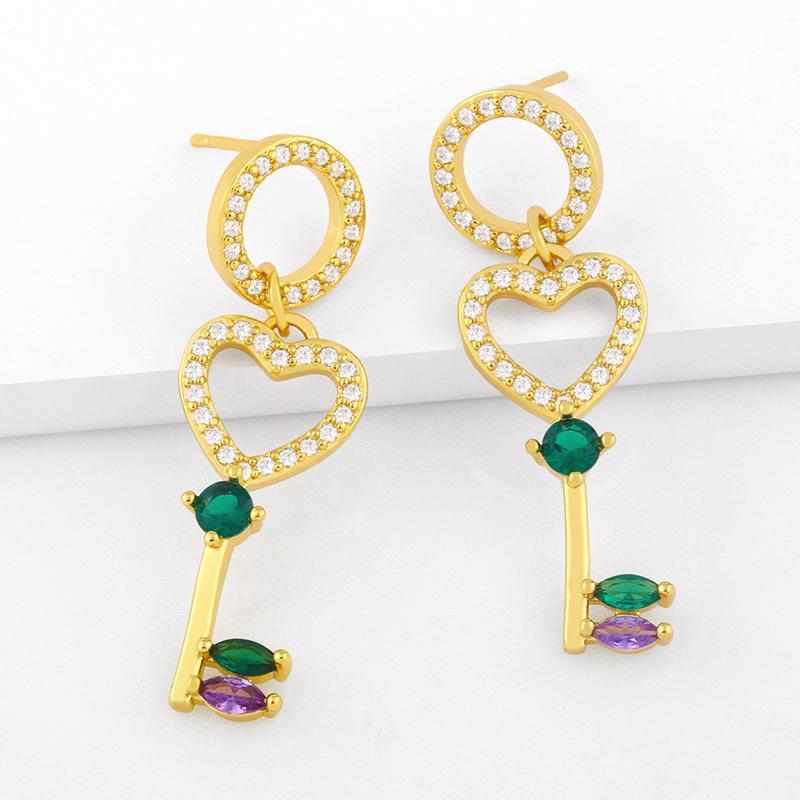디자이너 새로운 귀걸이 사랑 열쇠 여성의 창조적 인 마이크로 상감 색상 지르콘 귀걸이