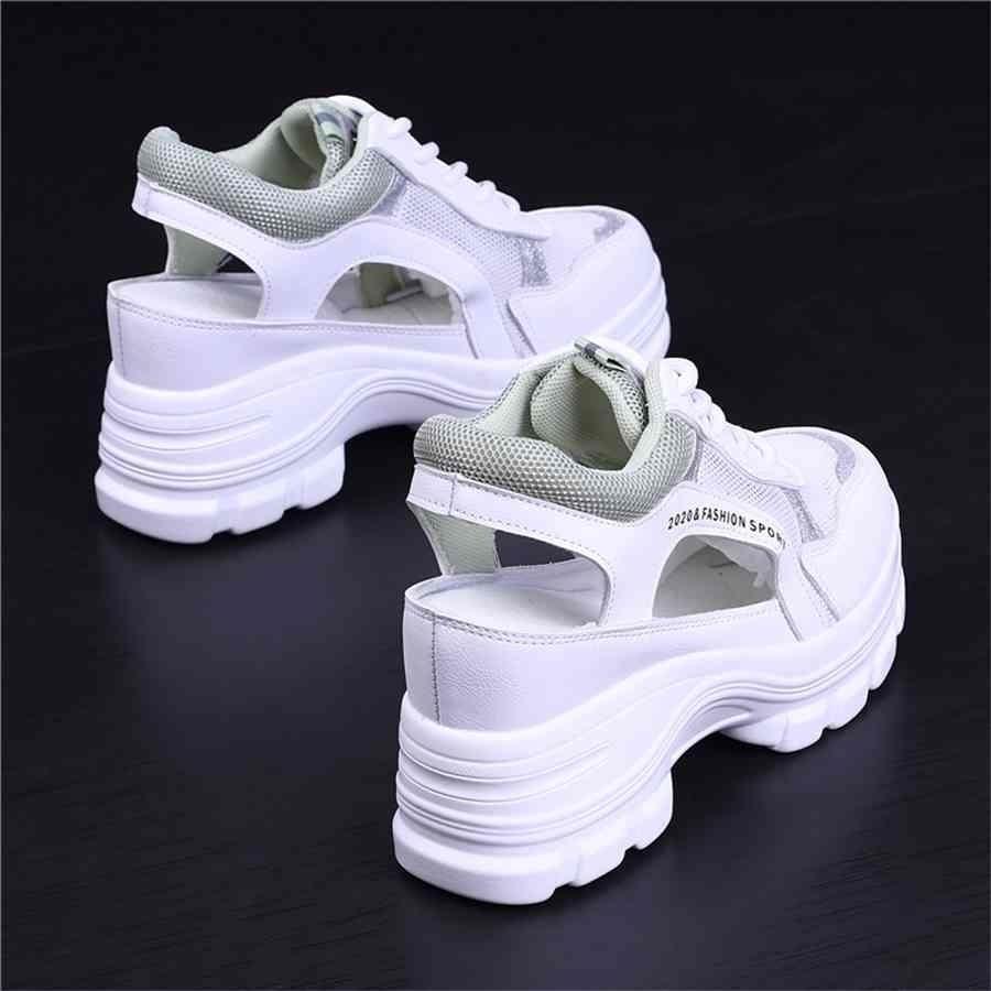 الأحذية النسائية زيادة ارتفاع 2021 الصيف أحذية عالية الكعب صندل للنساء أسافين منصة تنفس الرياضة رياضة wenshet