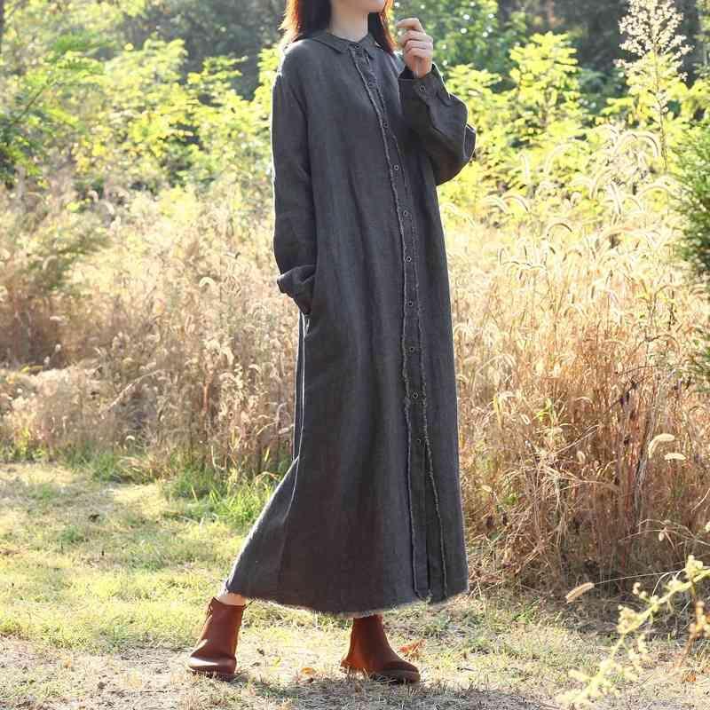 Johnature mulheres vintage outono longa trincheira botão bandage casacos ramie de alta qualidade roupas sólidas cor casual trincheira 210521