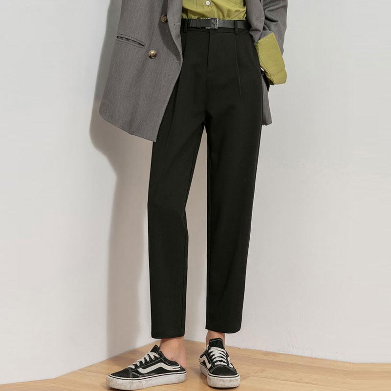 Büro Lady Black Anzug Hosen mit Gürtel Frauen Hohe Taille Solide Hose Mode Taschen Knöchellangen Lose Weibliche Frauen Capris