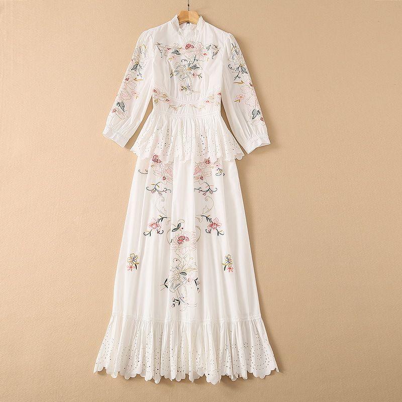 유럽과 미국 여성의 여성용 봄 2021 7 포인트 슬리브 칼라 자수 패션 fishtail dress