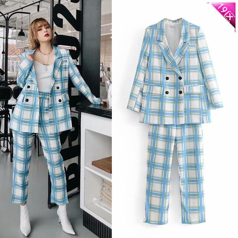 Women Pant Suits Formal Plaid Suit Jacket And High Waist Pants 2 Pieces Womens Set Blazer Women's & Blazers