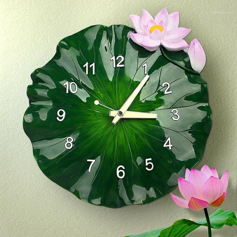 Large 3D Creative Art Green Lotus Wall Reloj de pared moderno Diseño silencioso Pastoral Reloj de la cocina Wanduhr Relojes de pared Decoración del hogar WBY0311