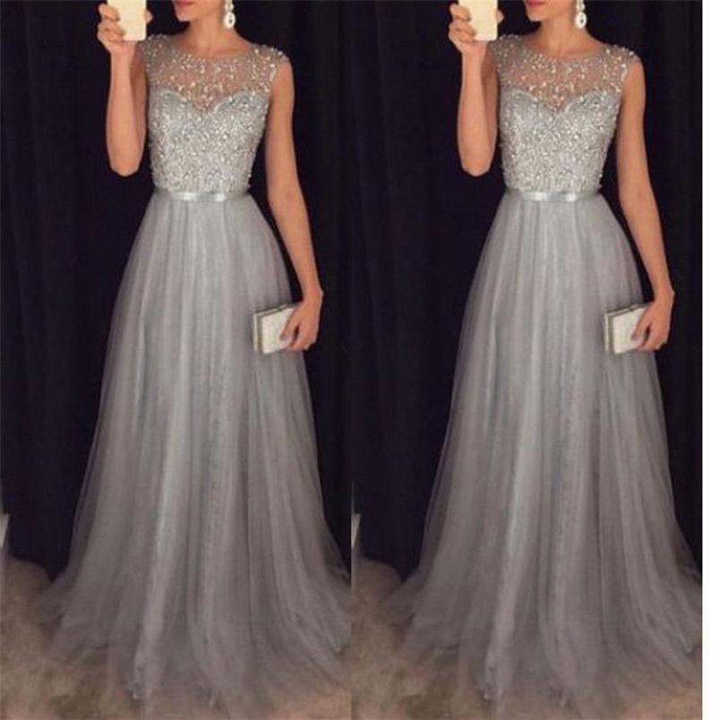 Kayotualar Kadınlar Elbise Zarif Örgün Akşam Parti Örgü Kolsuz Yüksek Bel Sequins Shinning Düğün Balo Uzun Sundress 210522
