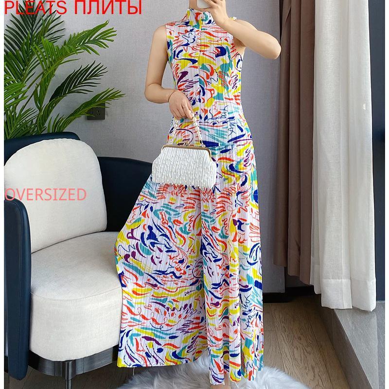 Verão Miyake Dobre Forma Impresso Vestida Lareira Pants Terno Mostrar Fino Two-Peça Plissados Calças Definir duas peças Femininas
