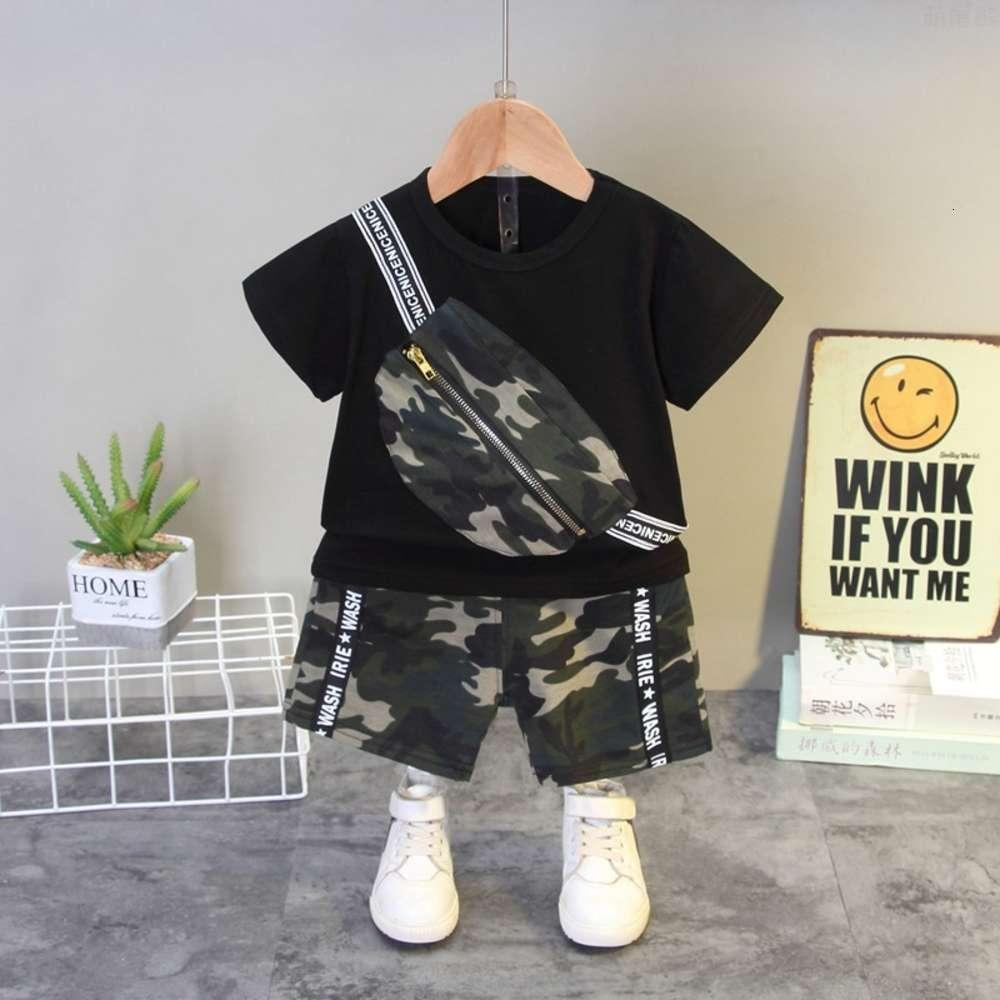 Clothing Sets summer handsome backpack boys short sleeve Children's sports leisure T-shirt shorts two piece set