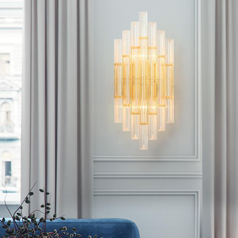 Lâmpada de parede moderna americana de cristal de luxo simples sala de estar quarto de cabeceira decoração home sconce luminária luminaria