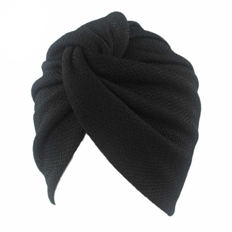 Novas Mulheres Esticão Sólido Ruffle Turbante Chapéu Cachecol Knotted Chemo Beanie Caps Headwrap para Câncer Quimioterapia Acessórios de perda de cabelo Y0723